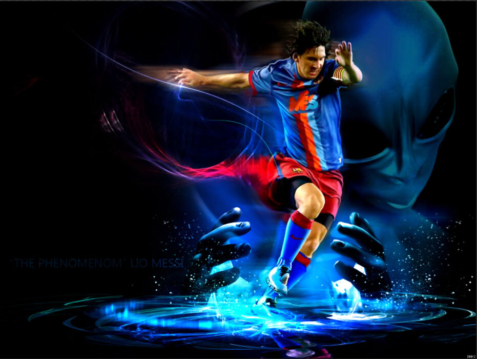 The Phenomenon Lionel Messi Soccer Football Alien Sport Art Huge Print Poster TXHOME D6912(China (Mainland))