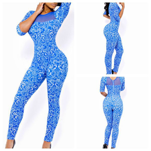 2015 Full Length Natural Color Broadcloth Geometric Hole Regular Casual Long Sleeve Rompers Womens Jumpsuit