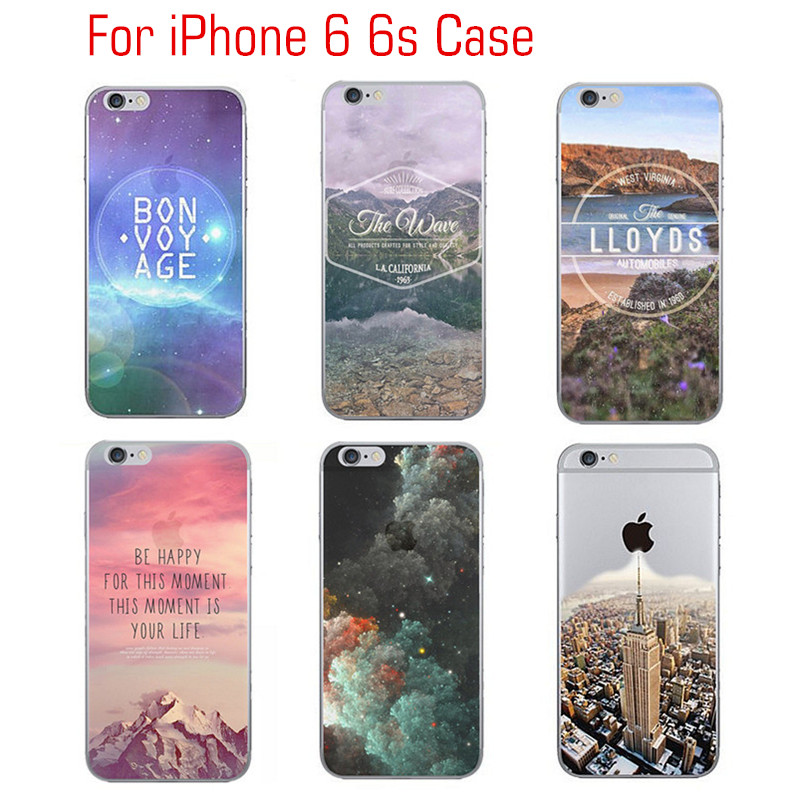 2016 New for iPhone 6/ 6s 4.7 inch Protector Case Coloured Drawing HD Landscape Mobile Phone Protective Cases TPU Flexible Bag(China (Mainland))