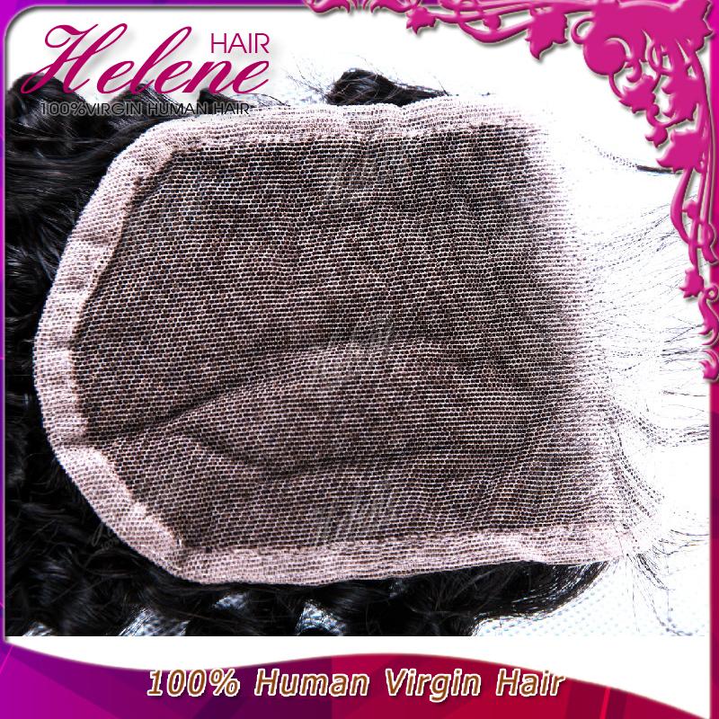 Helene Virgin Human Hair,Unprocessed Kinky Curly Wave Lace Closure,Brazilian Human Virgin Hair,Can Be Tangle,Permed And Shedding(China (Mainland))