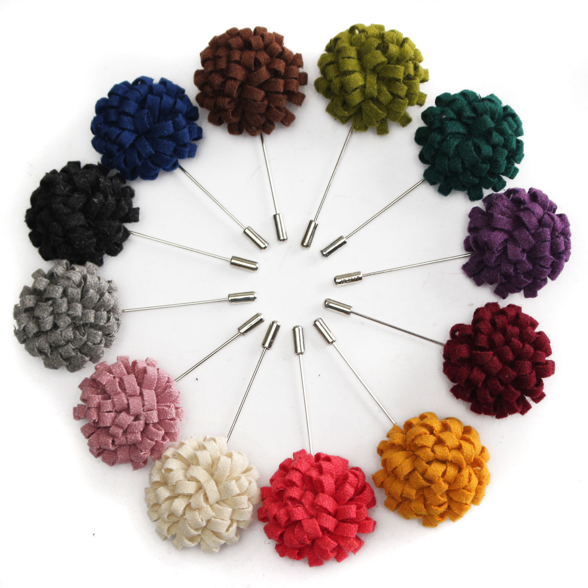 2015 New Promotion Cotton Felt Lapel Flowers Pin Handmade Boutonniere Floral Stick Pin Mens Accessories 13 Colors For Selection(China (Mainland))