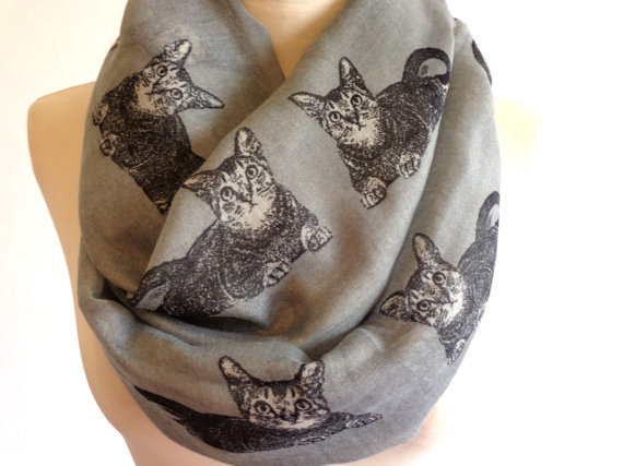 Wholesale 2015 new spring and winter cotton and polyester scarf for women animal design scarves print cat long scarf(China (Mainland))