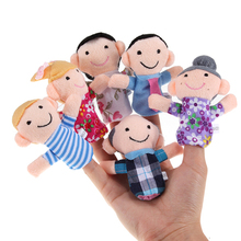 Hot Sale 6PCS Baby Kids Plush Cloth Play Game Learn Story Family Finger Puppets Toys Set 7KK8(China (Mainland))