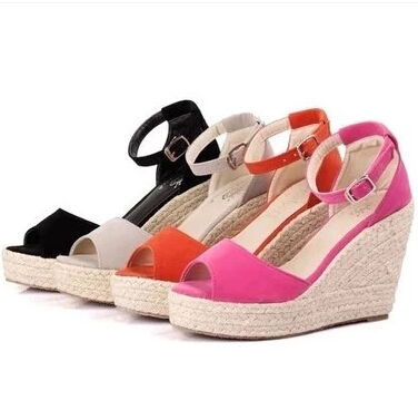 2016 summer new fashion women straw wedge sandals platform for Platform shoes with fish