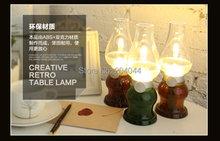 4pcDesk lamp small night blowing control lights nostalgic retro kerosene lamp USB charging acoustic small desk lamp bedside lamp(China (Mainland))
