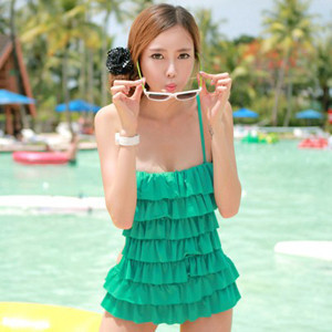 Swimwear female layered dress one piece swimwear small steel push - Newman store