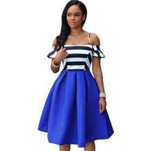 Newest Spring Summer European Style Elegant Ladies Dresses Sexy Off the shoulder Royal-Blue Striped Patchwork Cute Flare Dress(China (Mainland))
