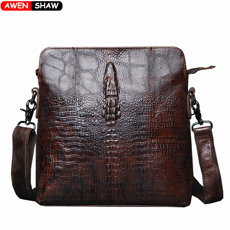 2016 New Fashion Crocodile Pattern Waxy Genuine Leather Mens Bags Causal Business Crazy Horse Leather Messenger Bags bolsa male(China (Mainland))