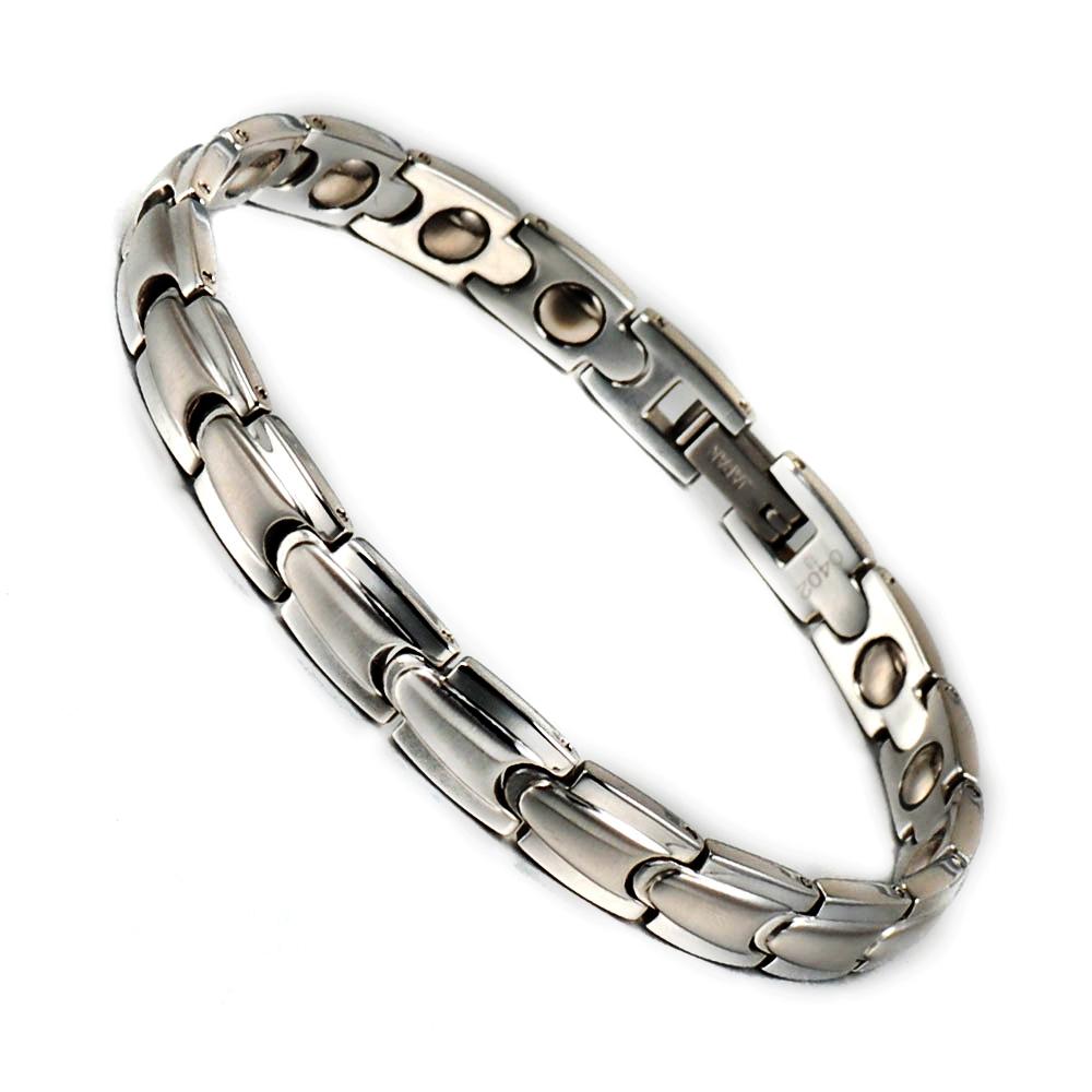 Korea Style Hand Chain Healing Energy Stainless Steel Magnetic Hematite Germanium Bracelet Bangle For Women(China (Mainland))