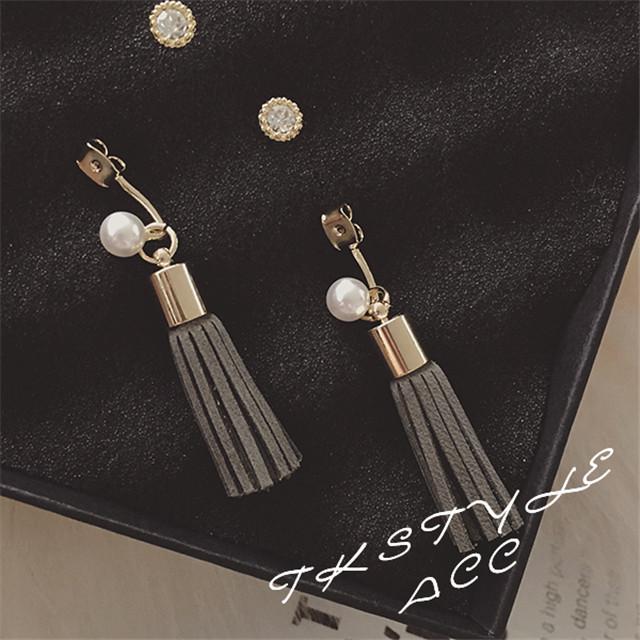 Новый простой сымитированная перла кисточкой серьги для женщин женщина долго дизайн мода ювелирных изделий оптовая продажа 2015 черный и серый цвета