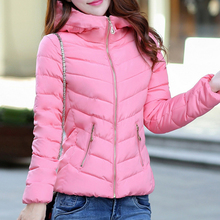XL-5XL Large Size Women Winter Coat with Hat Solid Slim Parkas Zipper Women Parkas Regular  Contracted Parka Free Shipping L449