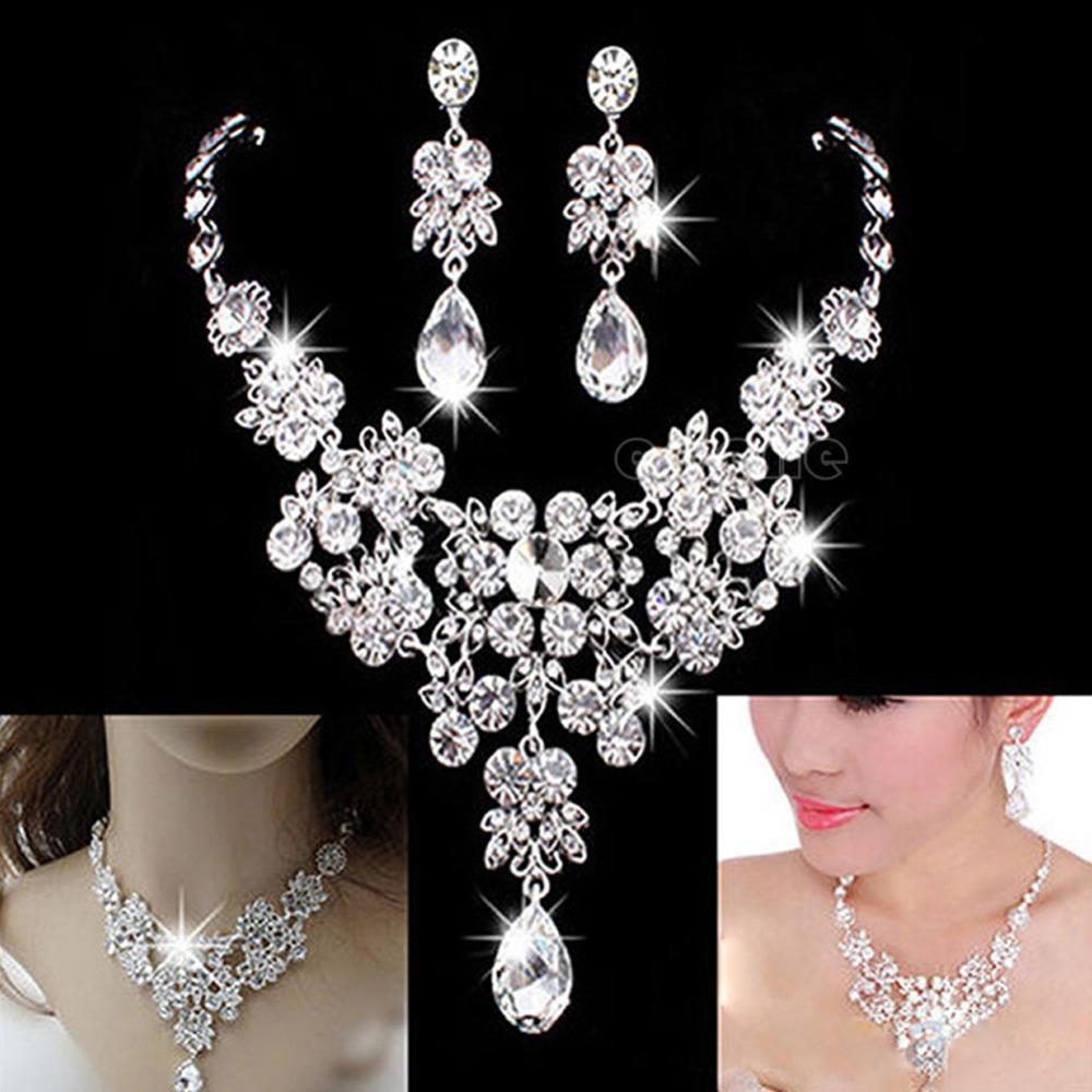 Bridal wedding party jewelry crystal rhinestone diamante necklace