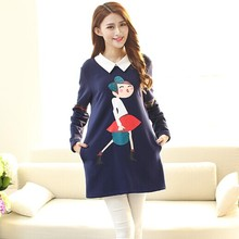 Maternity Autumn Winter Clothing Pregnancy Tops Full Sleeve Cartoon Print Tee Shirt Collar Clothes For Pregnant Women 2015(China (Mainland))