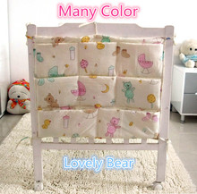 Promotion! Kitty Mickey 62*52cm Baby Cot Bed Hanging Storage Bag Newborn Crib Organizer Cotton Toy Diaper Pocket