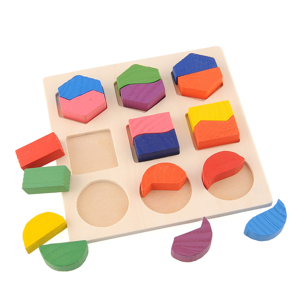 Educational Preschool Toys : Wooden math geometry puzzle montessori early learning