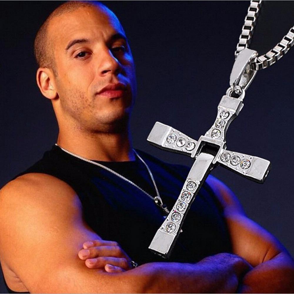 Гаджет  Trendy Male Titanium Dominic Toretto/Vin Diesel Cross Crystal Pendant Chain Necklace For Men Jewelry None Ювелирные изделия и часы