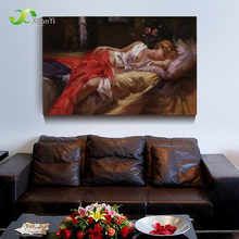 Modern Printed Pretty Sleeping Beauty Canvas Oil Painting Nude Picture Cuadros Decoracion For Living Room Unframed PR1102(China (Mainland))