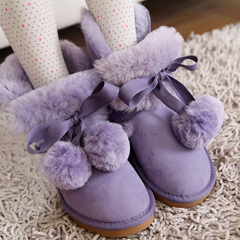 Half Knee High Bandage Mid Calf Bow Snowboots Plus Velvet Winter Boots Snow Shoes Womans Classic Sweet Suede Teenage Girls Ball<br><br>Aliexpress