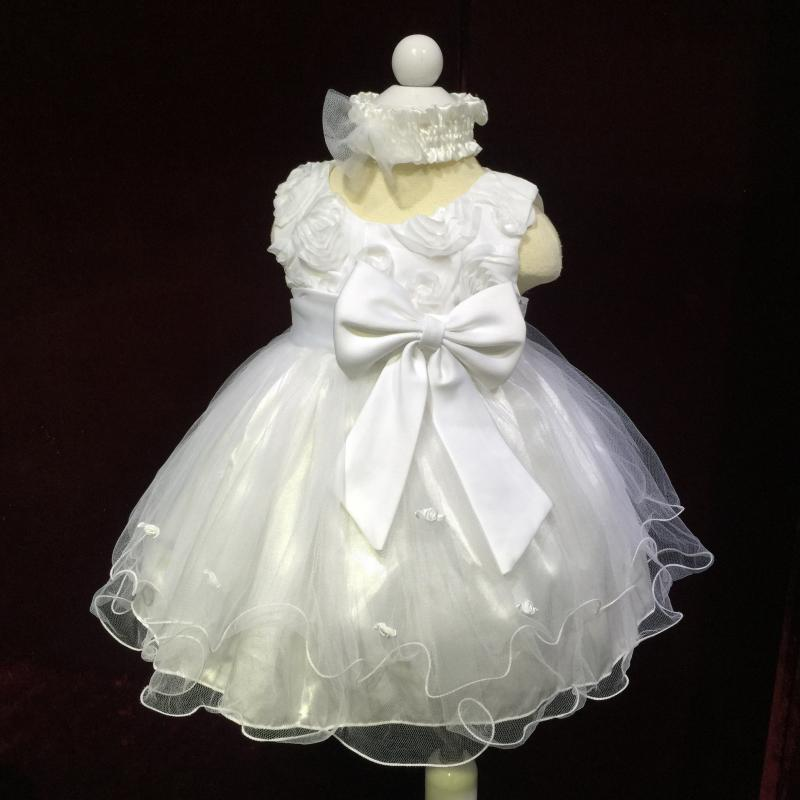 Free Shipping Baby Dress For 1 Year Birthday Baby Girl Christening Gowns White infant Party Dress Factory Wholesale Stock 2174bs(China (Mainland))