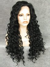 N18 1 Best selling Stunning kinky Curly black Synthetic Lace Front Wig Rupaul Wig