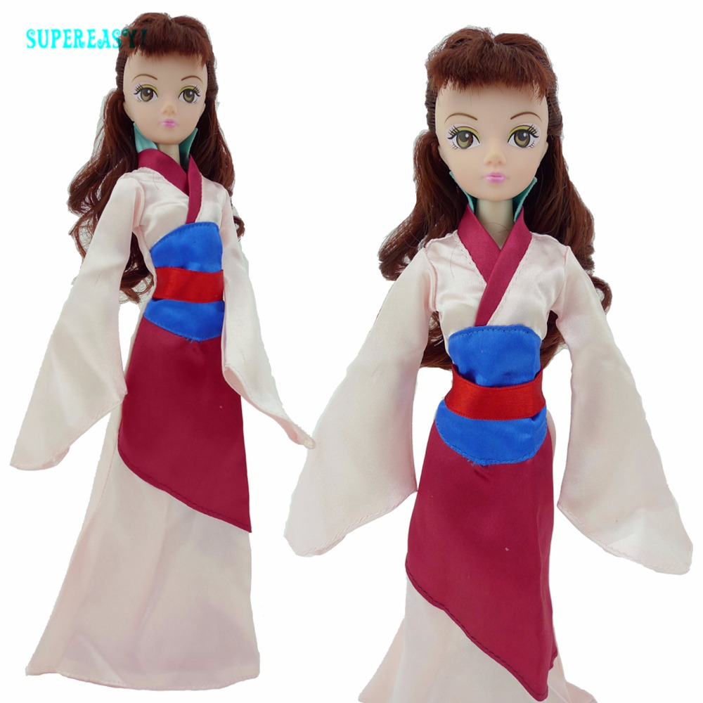 Fairy Story Princess Robe Unique Lengthy Sleeves Copy Mulan Garments For Barbie Kurhn Doll 11″ 11.5″ Puppet Dollhouse Equipment Toy