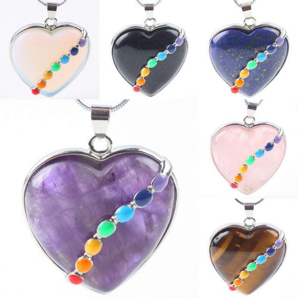 1Pc Amethyst Opal Rose Quartz Gem Stone Heart 7 Chakra Healing Beads Pendant Charms Jewelry (Giving A Chain)(China (Mainland))