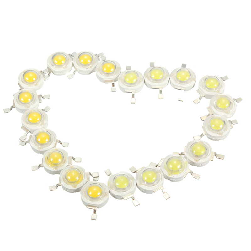 High Quality 10Pcs 3W High Power Led Lamp Beads 200~230 Lm 45mil 6000K-6500K White and Warm White(China (Mainland))