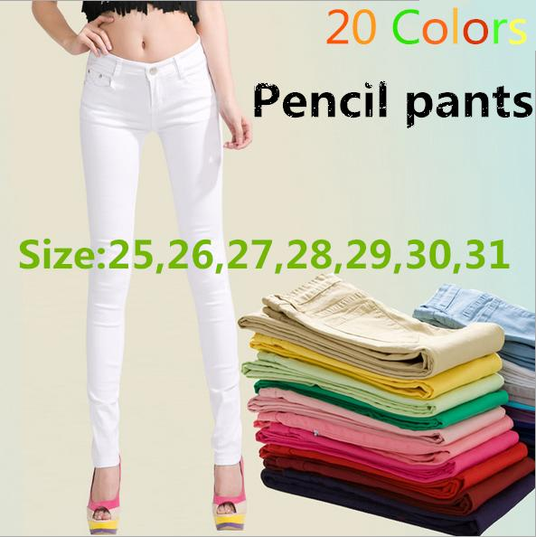 Hot. Jeans women 2014 New Women's pants Sexy Spring elastic candy colored pencil Pants Jeans Trousers 2015 women's jeans summer(China (Mainland))