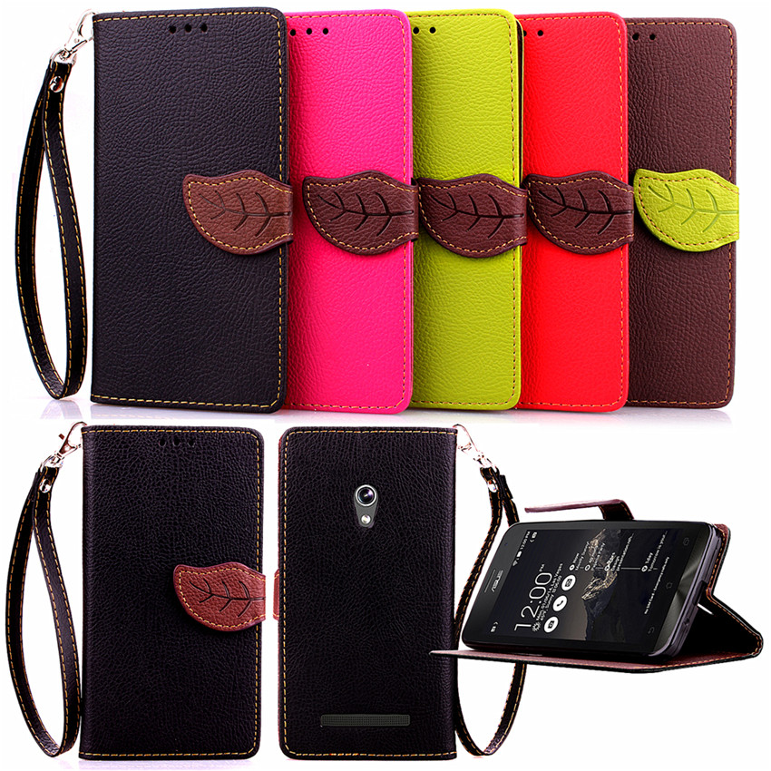 Fashion Leaf Design PU Leather Case For ASUS ZenFone 5 Card Holder Wallet Stand Flip Phone Shell Cover(China (Mainland))