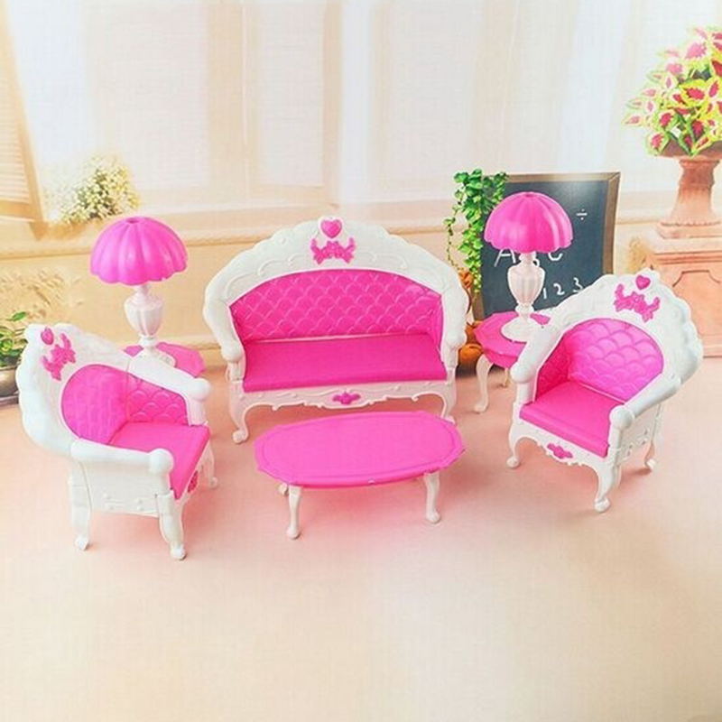 New Arrive Children Cute 6pcs Dollhouse for Barbie Doll Furniture Playset Living Room Parlour Sofa(China (Mainland))