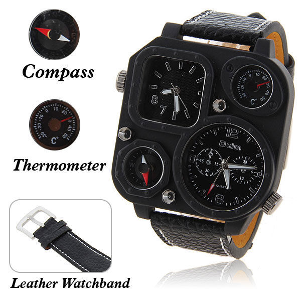 Famous Brand Men's luxury sports adventure wristwatches Oulm watch with square shape 2 dials and compass+thermometer Black