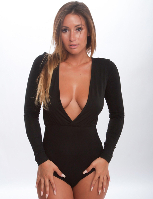 2015 Длинный Рукав bodysuit jumpsuits V - образный вырез sexy rompers Женщиныs jumpsuit ...