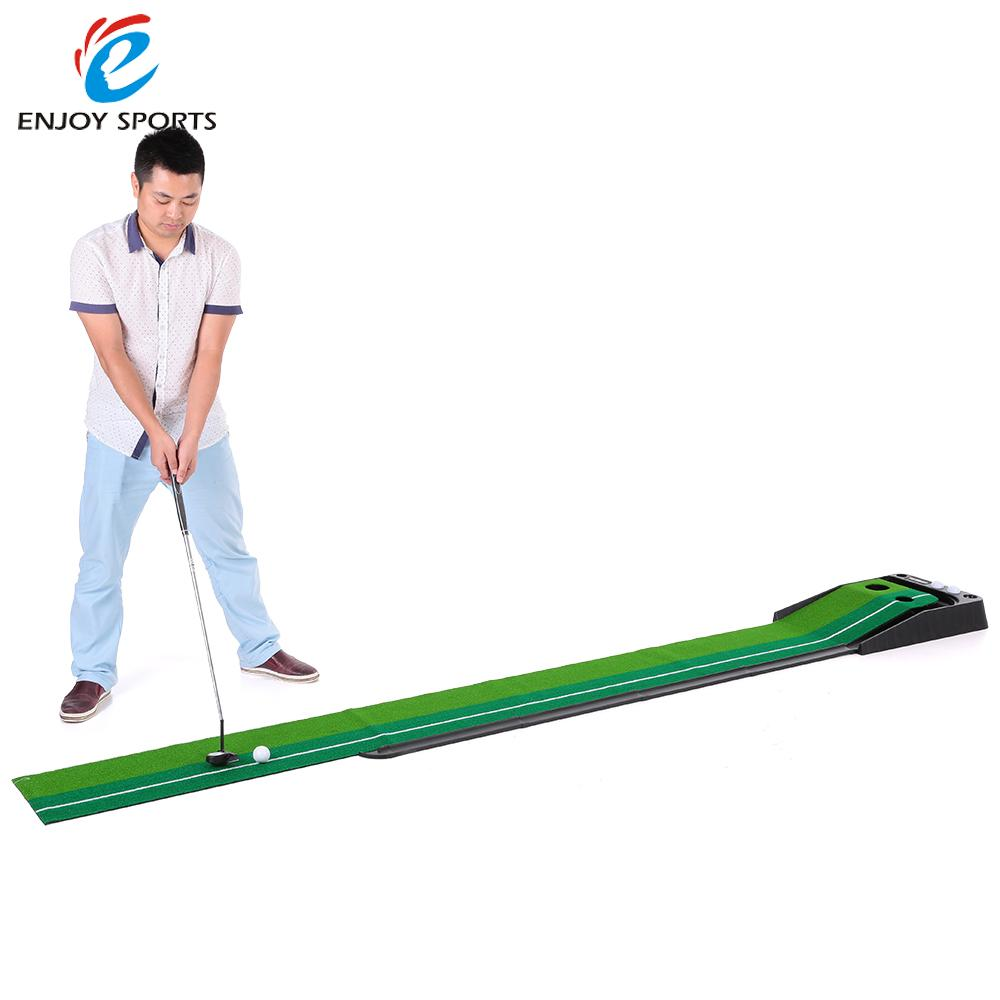 TOMSHOO Indoor 3m Golf Putting Trainer with Double Holes Gravity Ball Return Alignment Indicator for Beginners(China (Mainland))