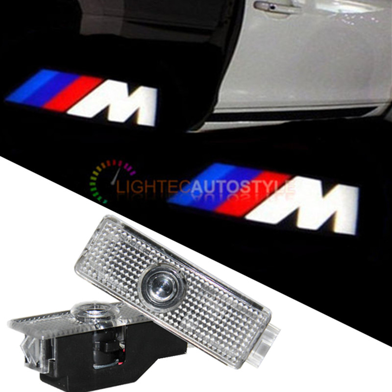 2x Pair LED Car Door Courtesy Laser Projector Logo Ghost Shadow Light for BMW X1 X3 X5 E60 E90 F10 F30 E91 M3 M5 Z4 F01 E65 E92(China (Mainland))