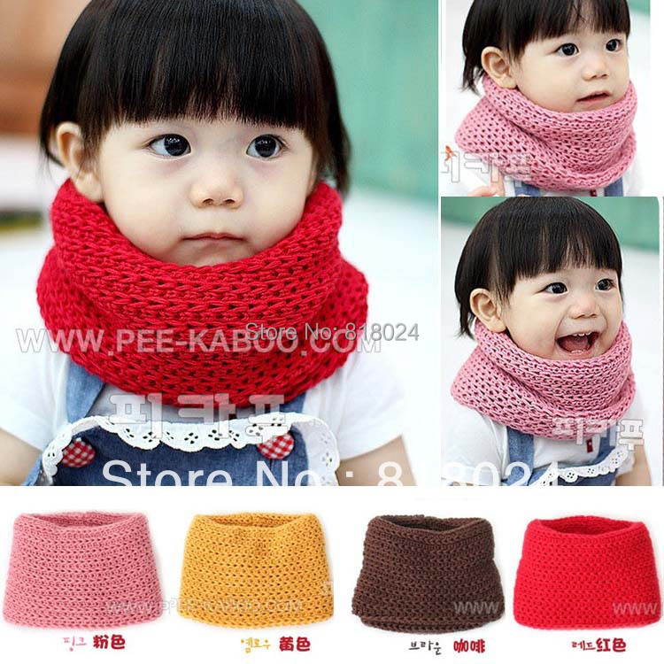 1pc/lot 4 Colors 2014 Winter Children's Muffler Baby Warm Scarf Boy /Girl Knitted O Ring Scarf Kids Shawls Free Shipping(China (Mainland))