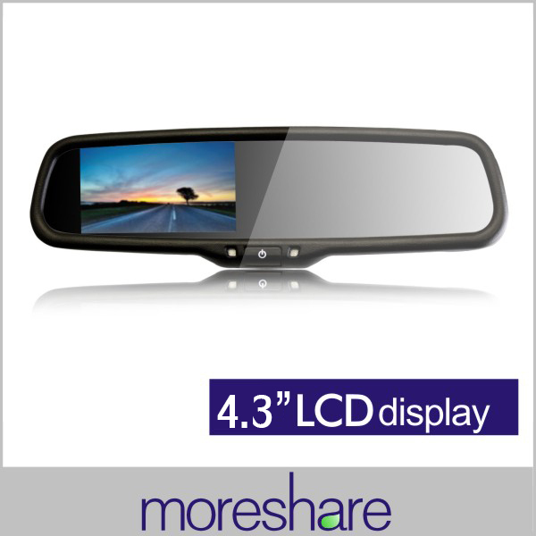 4.3inch TFT LCD Car Rearview Mirror Monitors for CCD Camera Auto Adjust Brightness Car Parking Monitor Dual Video Input+Bracket(China (Mainland))