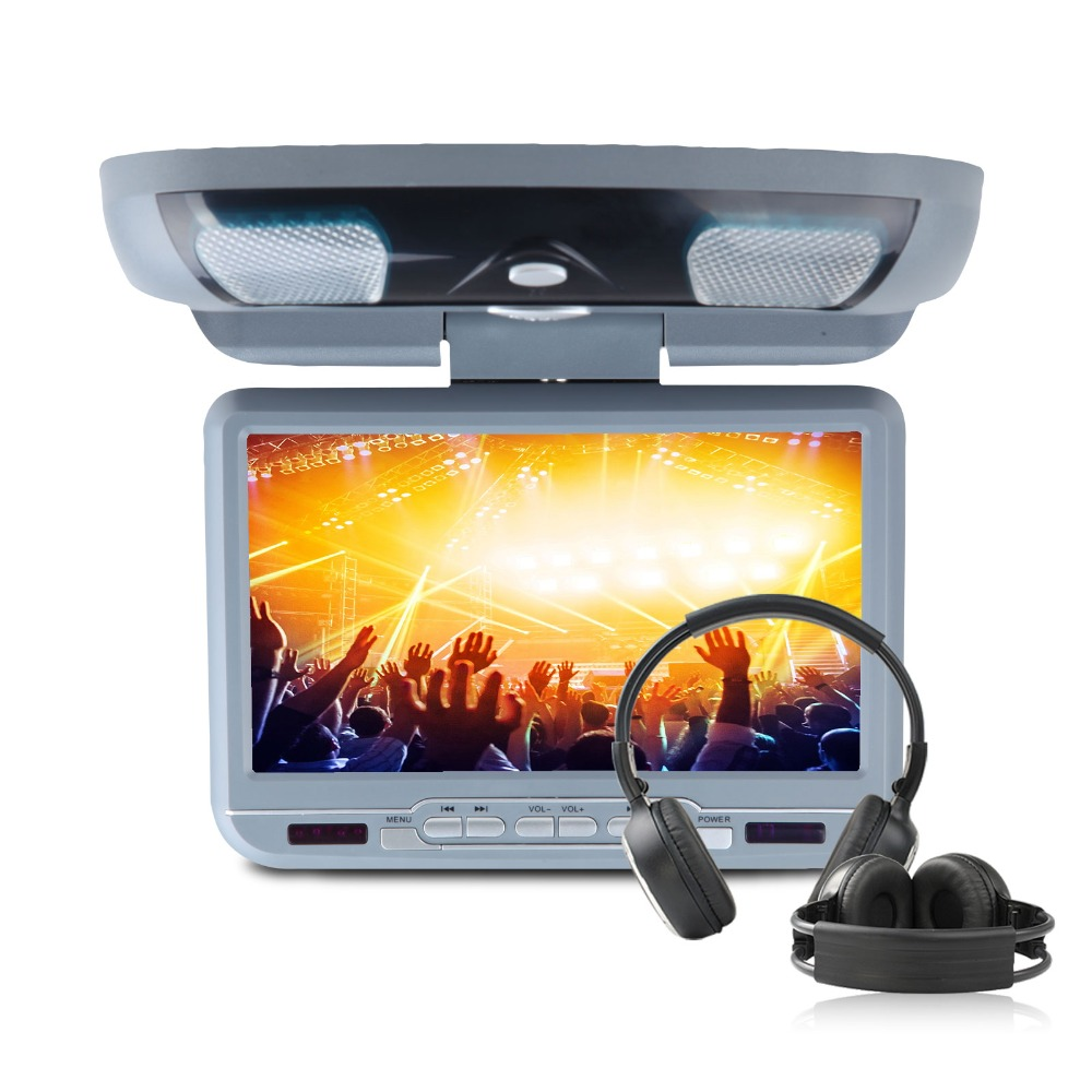 """Eonon 9"""" Car Roof Mounted DVD Player With 32 Bits Game USB SD Flip Down Monitor Auto Ceiling Video With 2pcs Headphones For Free(China (Mainland))"""