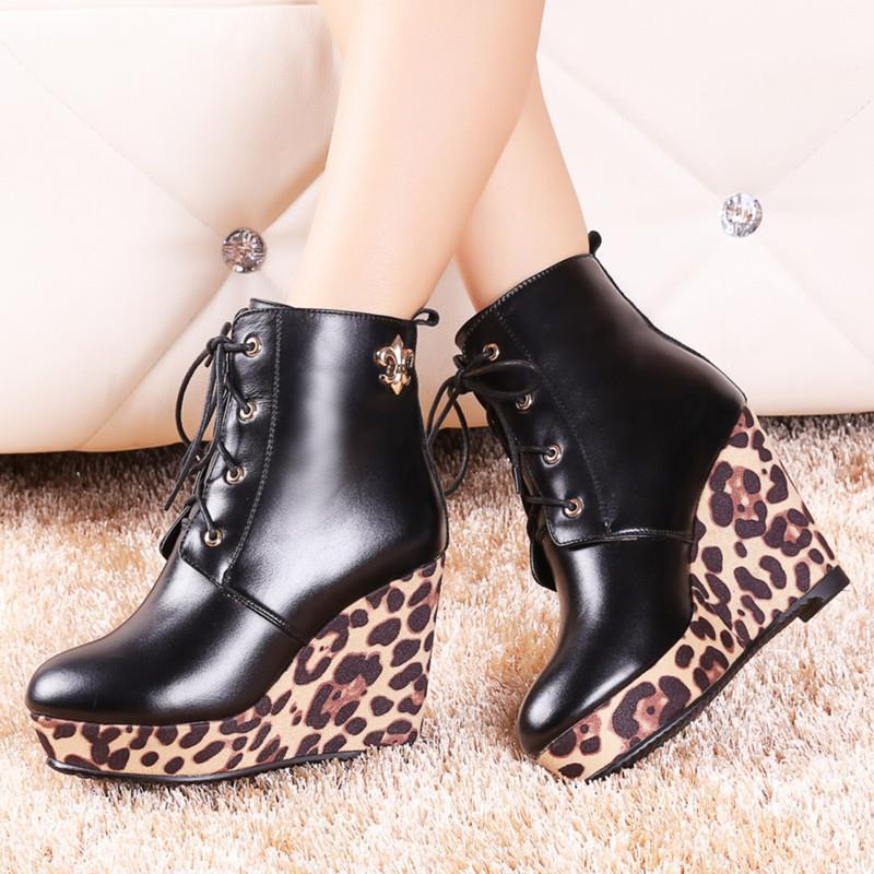 NEW sexy ankle boots for women lace up round toe fashion genuine leather boots spring autumn solid platform shoes<br><br>Aliexpress