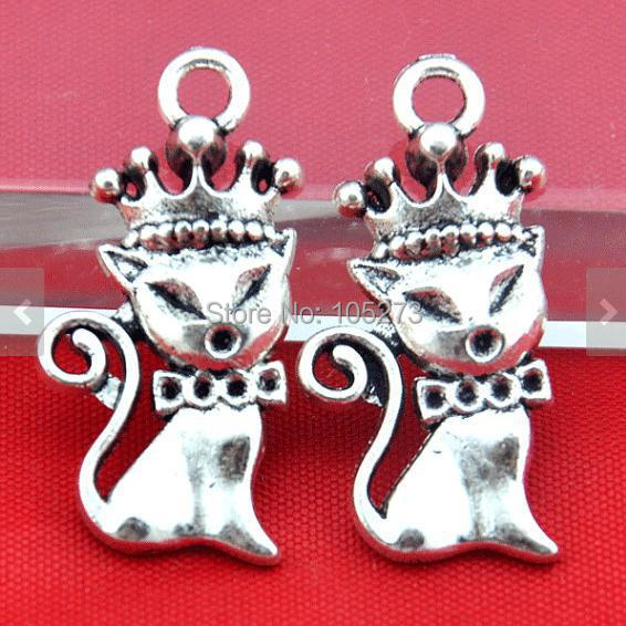 15X31MM Antique Silver Cat With Crown Charm Pendants , DIY Accessory Jewelry Making(China (Mainland))