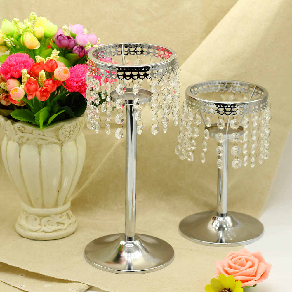 candle holder Crystal chain Candlestick Metal Silver Plated Crystal Candle Holder wedding Candelabra Decoration Candlestick(China (Mainland))