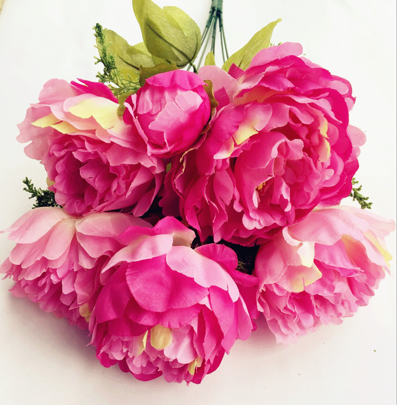 10pcs (7 heads/bunch) Artificial Peony Flowers Fake Silk Peonies for Bridal Bouquet Wedding Centerpieces Home Party Decorations(China (Mainland))