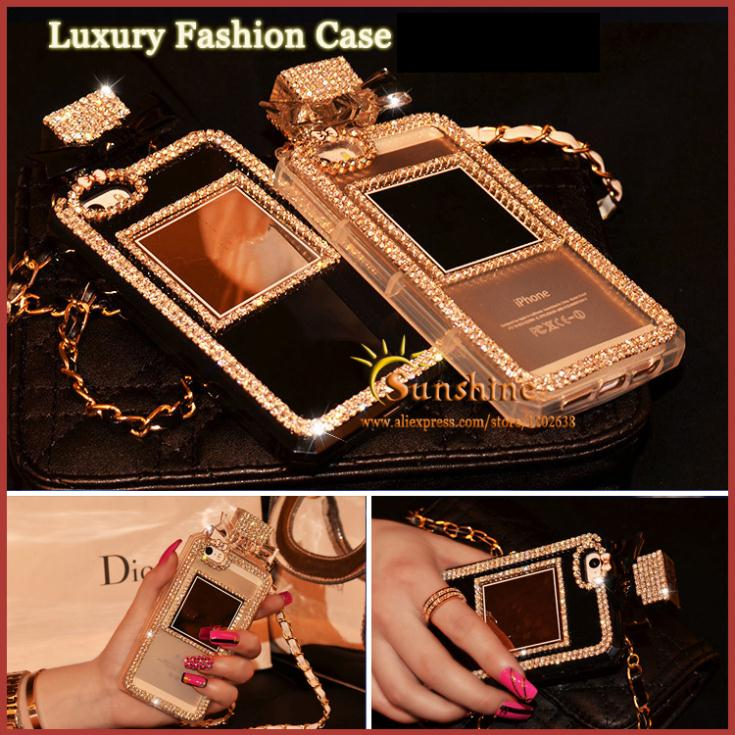 Shining diamond DO Perfume Bottle Case with chain for iPhone 4 5 6 6 Plus For Samsung S3 s4 S5 S6 note234 TPU case Handbag cover(China (Mainland))