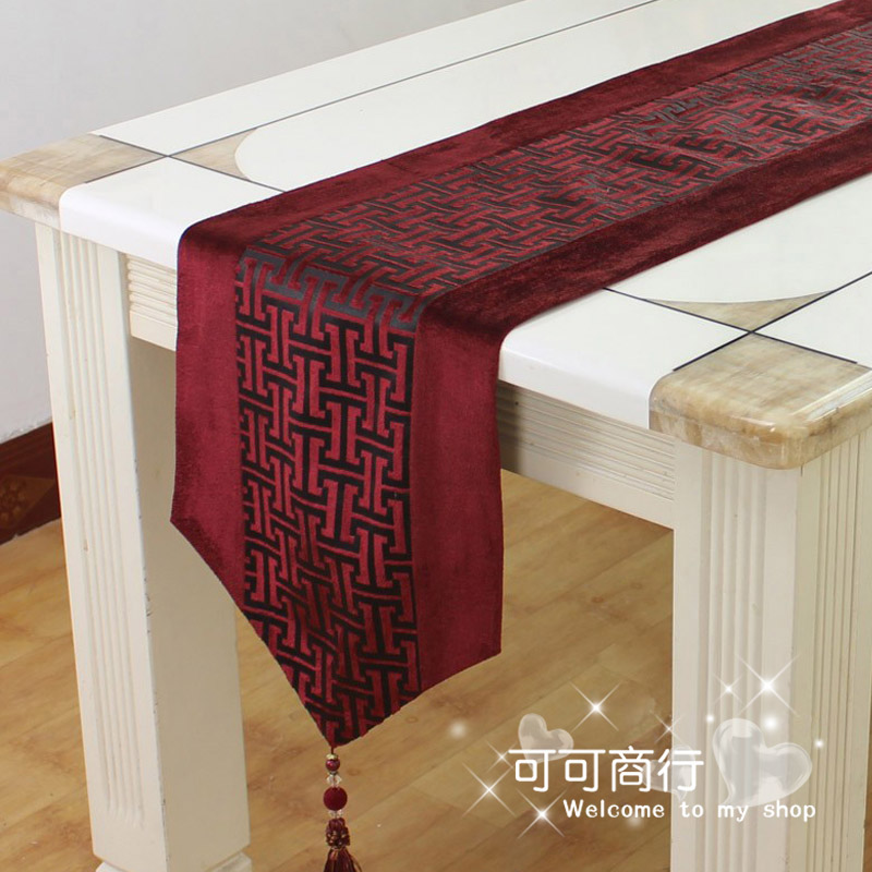 Ed35 silver chinese style luxury brief dining table coffee table runner dining table cloth tablecloth bed flag coffee table