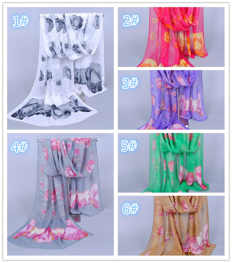 Scarves Sales Rose Chiffon Scarf Special Hair(China (Mainland))