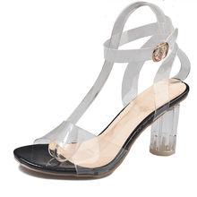 Sandales en Pvc Transparent femmes sandales en cristal Transparent talon rond femme imperméable à l'eau plage sandale dame talons hauts chaussures livraison directe(China)