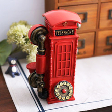 Retro style decoration shooting props TV cabinet wine display British phone booth piggy bank savings(China (Mainland))