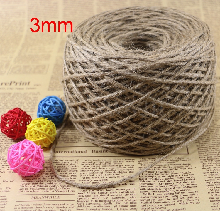 New 3mm*200m Natural Twine Cord Hemp Jute Rope String Gift Packing Hang Tag String For Handmade Accessory DIY Decoration(China (Mainland))