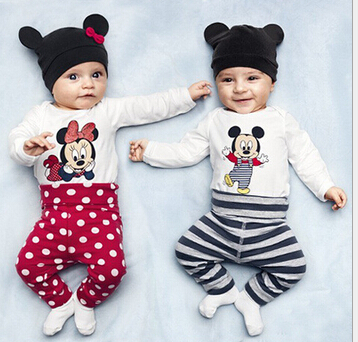 Summer Style Newborn Baby Clothes Cheap New Two Triangle Climbing Ha +Long Pants 3 Pieces A-048(China (Mainland))