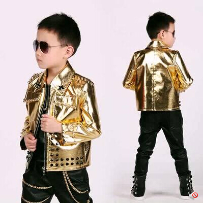 2015 fashion kids baby faux leather blazers casual gold ...