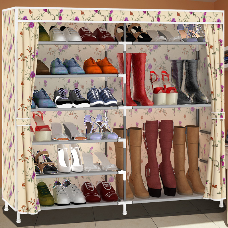 Easy assembly oxford shoe iron rack dust storage hall shoes cabinet(China (Mainland))